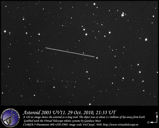 Asteroid 2003 UV11 imaged at the Virtual Telescope (2011)