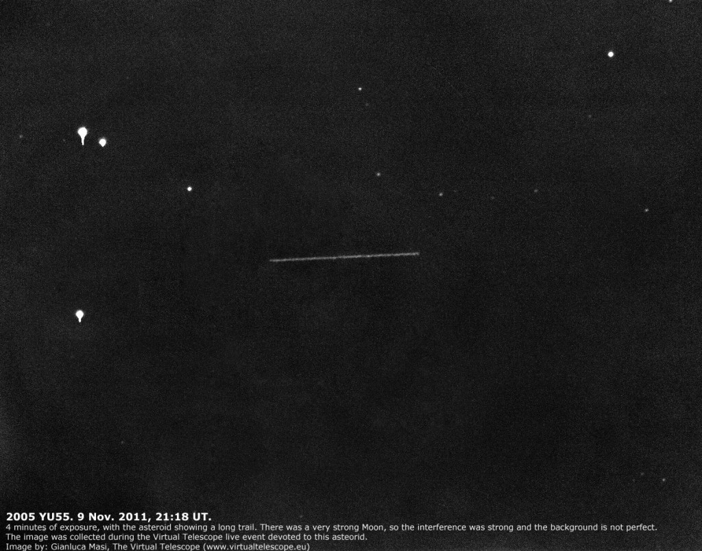 asteroid 2005 YU trail, imaged at the Virtual Telescope during our live show