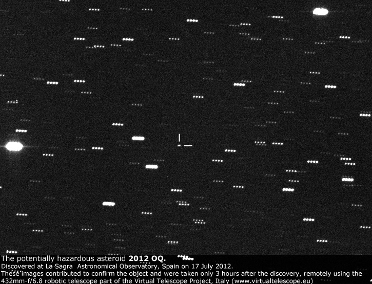 The potentially hazardous asteroid 200OQ, observed in Aug 2012
