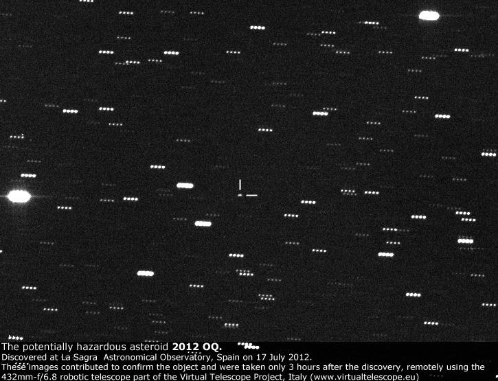 The potentially hazardous asteroid 2012 OQ seen at the Virtual Telescope