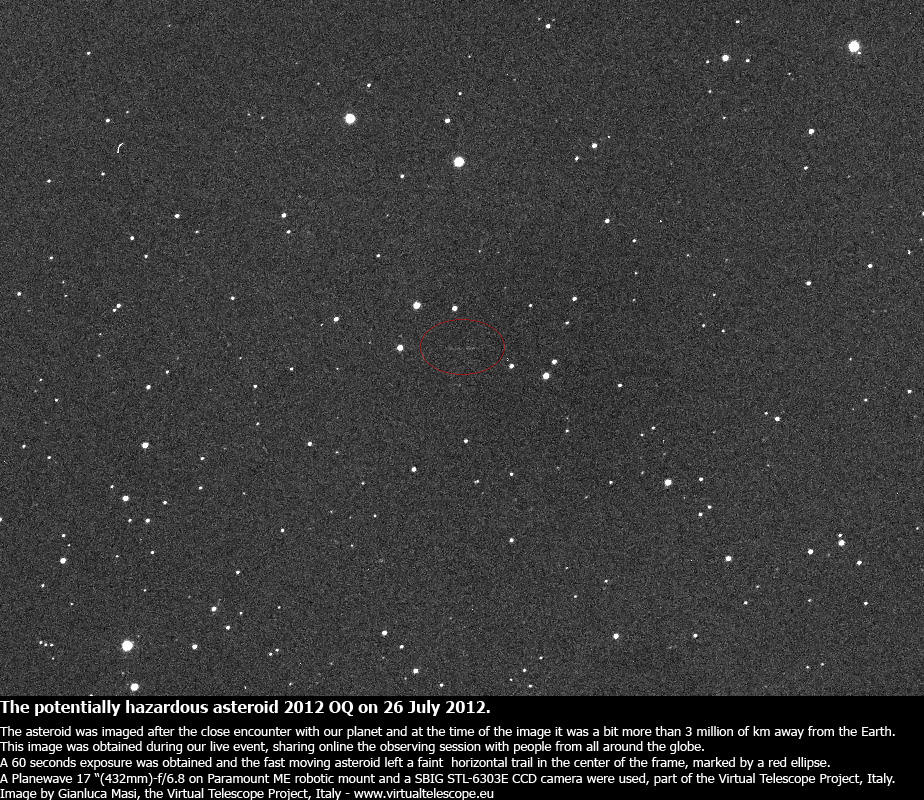 Asteroid 2012 OQ trailed in this image, obtained during the live event