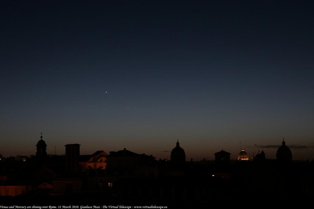 Venus and Mercury above S. Peter Dome, Rome