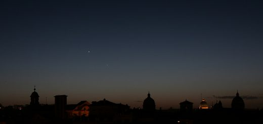 Venus and Mercury above S. Peter Dome, Rome