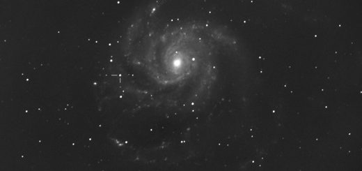 M101 and its supernova suspect, imaged at the Virtual Telescope on 25 Aug. 2011