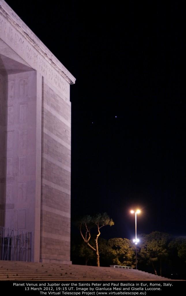 Venus and Jupiter in Rome, EUR, on 13 Mar. 2012