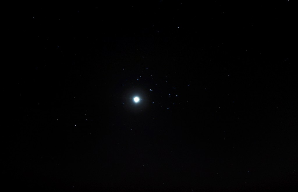 Venus and the Pleiades on 3 April 2012