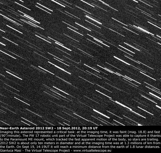 Near-Earth asteroid 2012 SW2 (18 Sept. 2012)