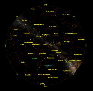 The sky on 15 Oct. 2012, 19:30UT, at lat +41 deg