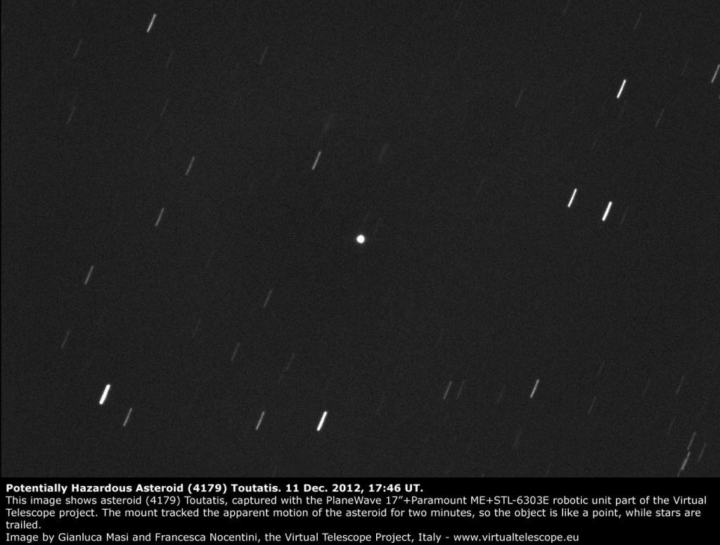 The Potentially Hazardous Asteroid (4179) Toutatis, imaged at the Virtual Telescope