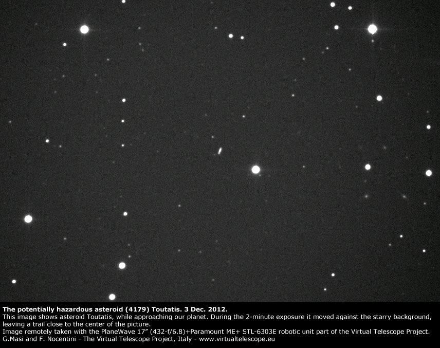 Potentially Hazardous Asteroid (4179) Toutatis, imaged at the Virtual Telescope