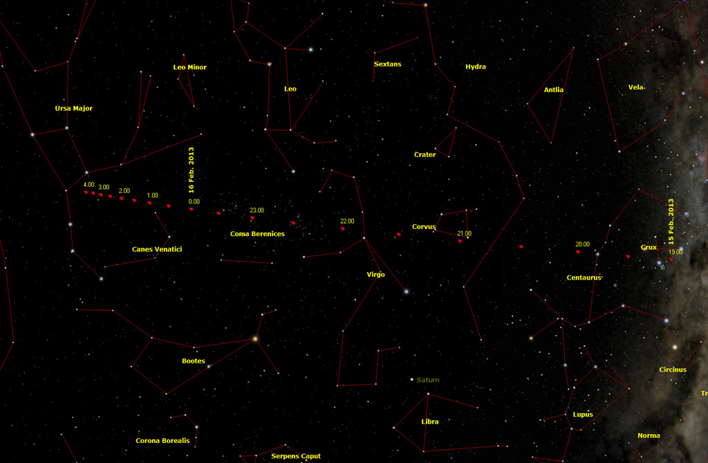 2012DA14: path across the stars from late 15 Feb. 2013 to early Feb. 16