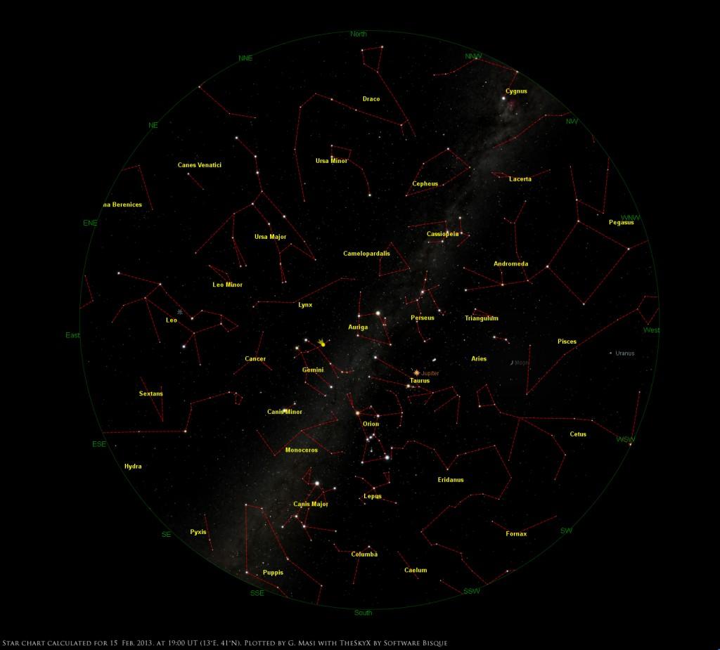 Star Chart: 15 Feb. 2013, 19:00 UT for (13°E,41°n)