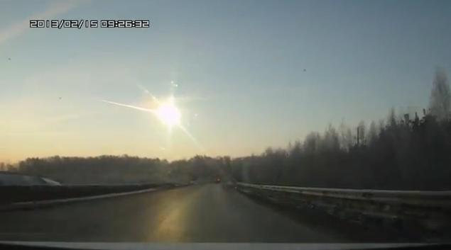 The fireball  over Chelyabinsk, Russia