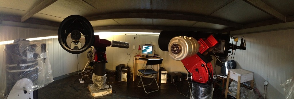 The Planewave 17 (left) and Celestron C-14 (right) units, both on a robotic Paramount ME mount