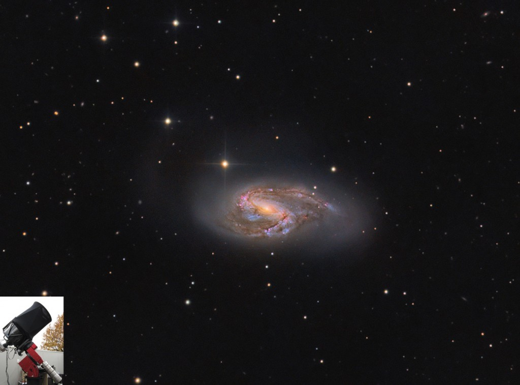 Messier 66, a color view grabbed with the telescope in the bottom left