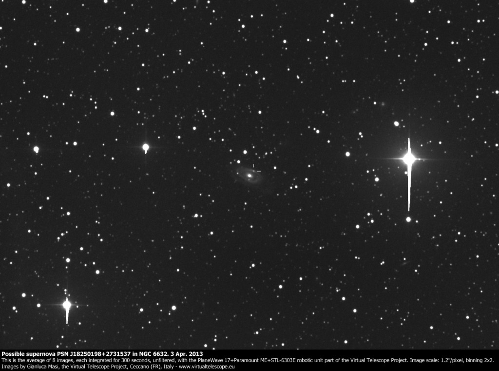 Possible supernova PSN J18250198+2731537 in NGC 6632. 3 Apr. 2013