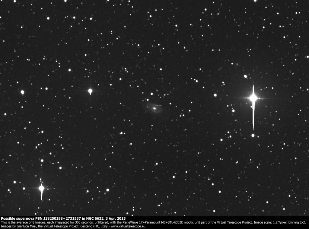 Possible supernova PSN J18250198+2731537 in NGC 6632. 3 Apr. 2013