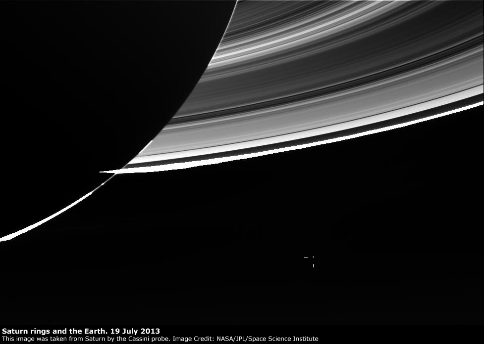 Saturn rings and the Earth, imaged by Cassini, 19 July 2013
