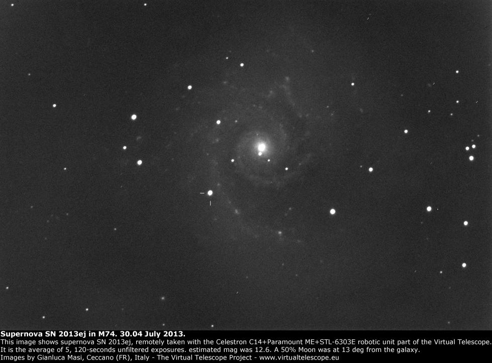 Supernova SN 2013ej in M74: 30 July 2013
