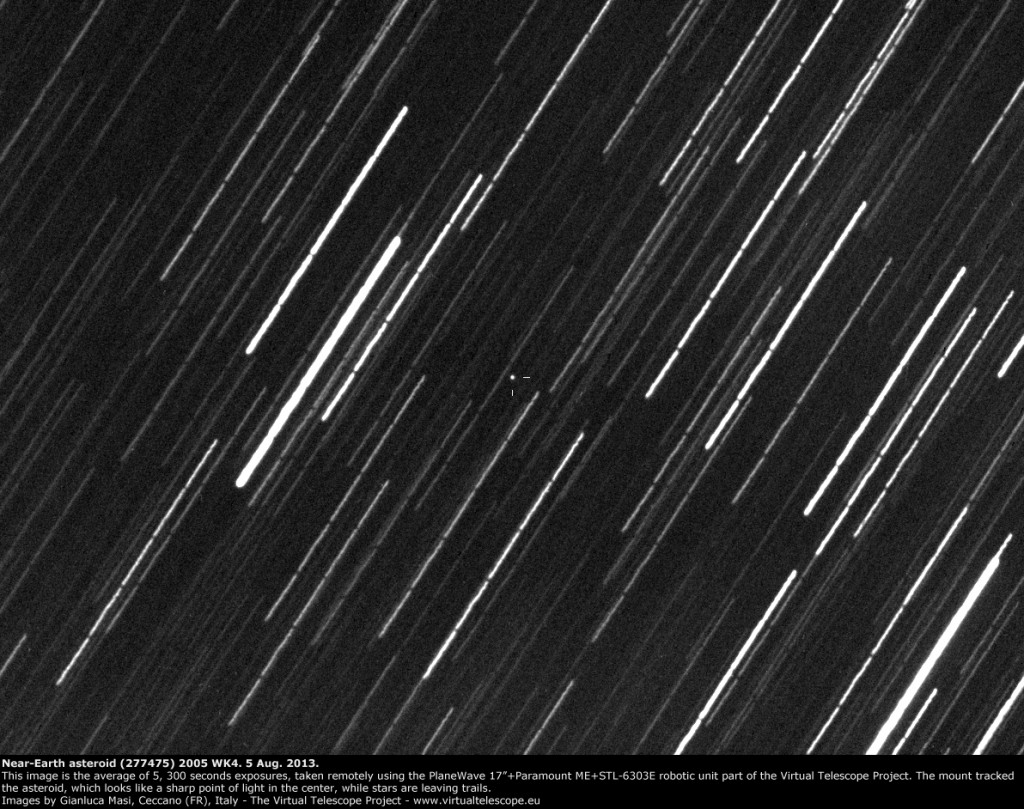Near-Earth asteroid (277475) 2005 WK4: 5 Aug. 2013
