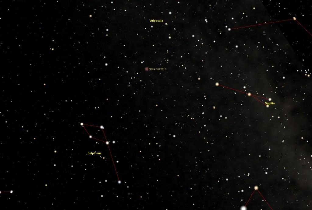 Nova Del 2013: deeper star chart