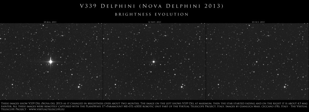 V339 Delphini (= Nova Delphini 2013): brightness evolution