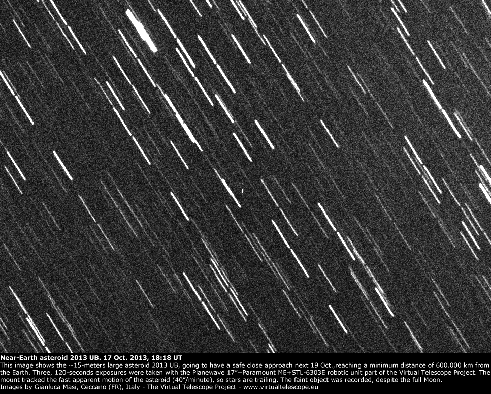 Near-Earth asteroid 2013 UB3: 17 Oct. 2013
