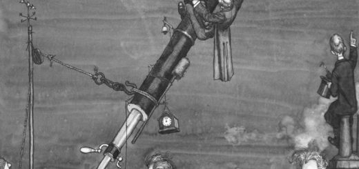 """W. Heath Robinson: """"Searching for Halley's Comet At Greenwich Observatory"""" (1909)"""