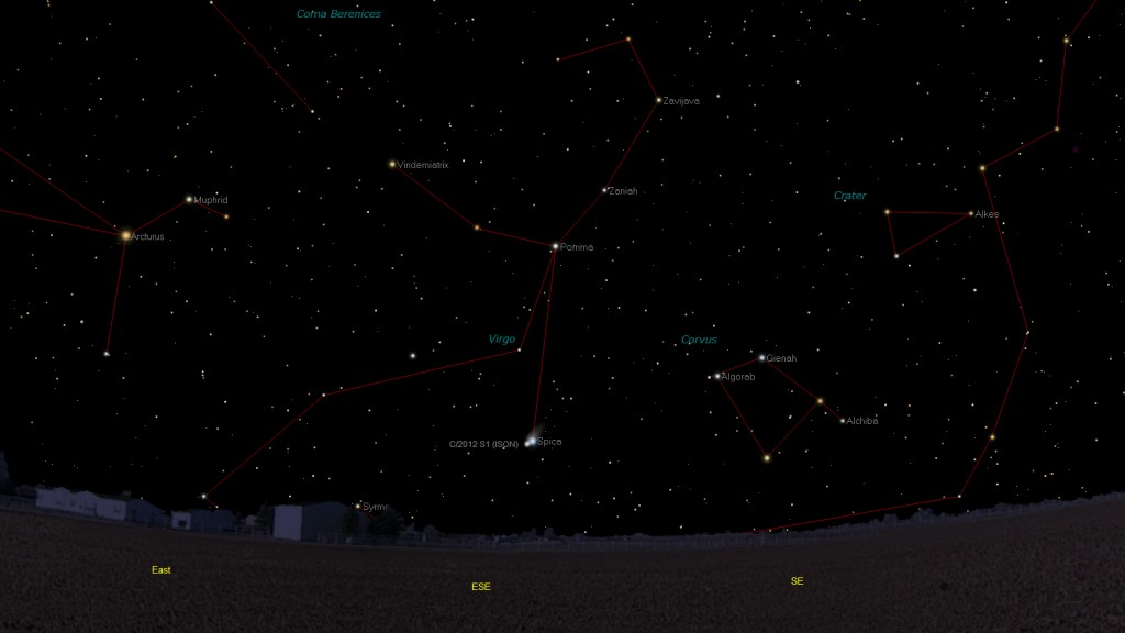 Comet Ison and Spica: 18 Nov. , 04:30 UT as visible from Rome but indicative for a wide range of locations