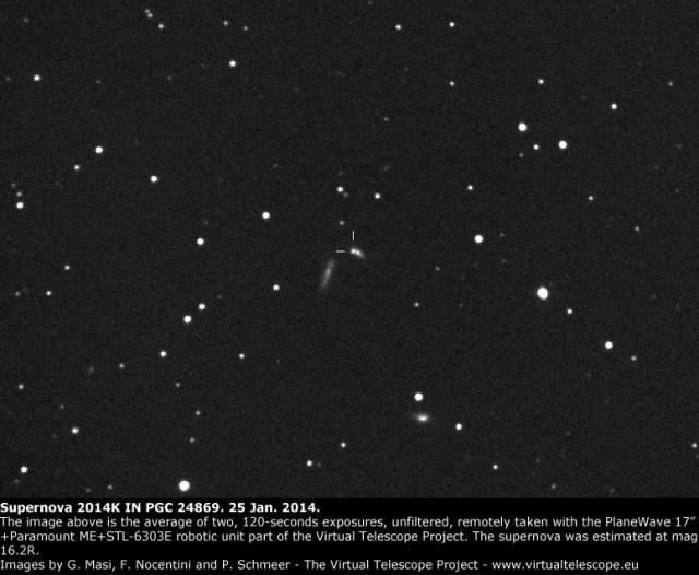 Supernova SN 2014K in PGC 24869: 25 Jan. 2014