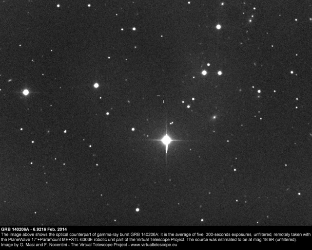 GRB140206A, optical counterpart: 6 Feb. 2014