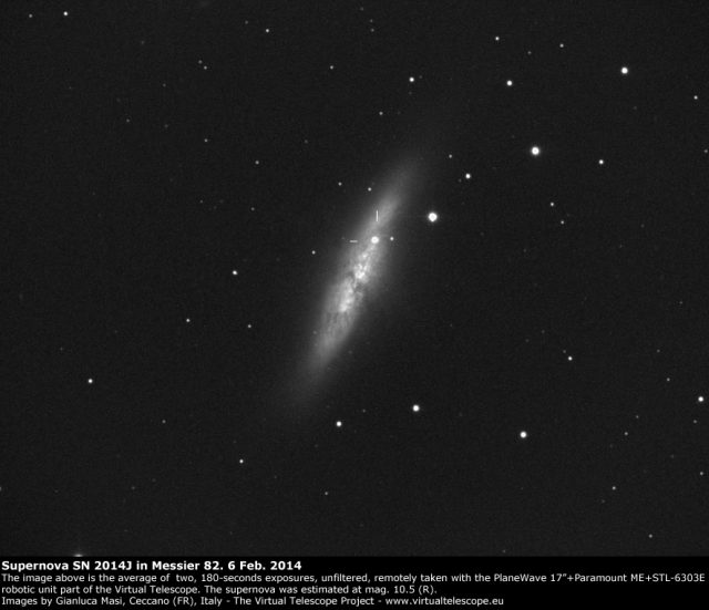 Supernova SN 2014J in M82: 06 Feb. 2014