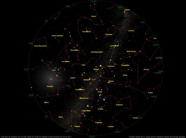 Star Chart: 15 Feb. 2014, 19:30 UT for (13°E,41°N)
