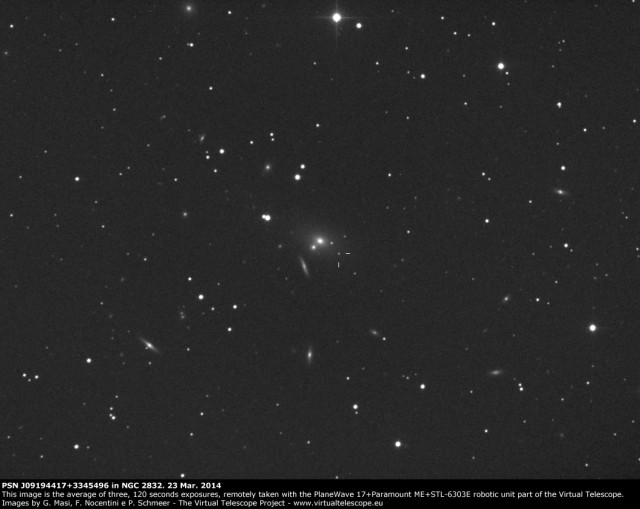 NGC 2832 and PSN J09194417+3345496 in a dense field of galaxies