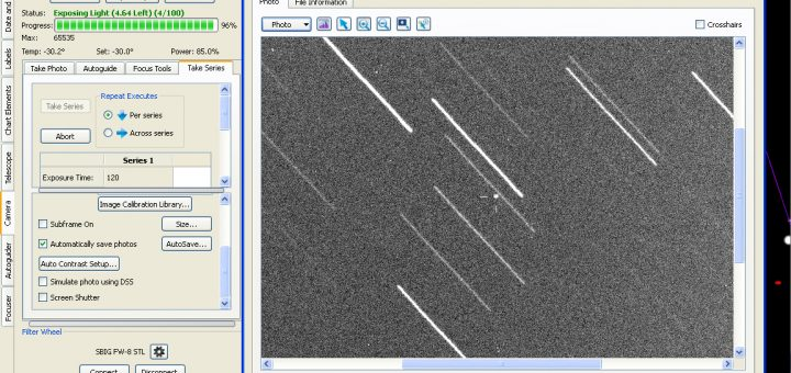Asteroid 2014 GN1 as seen in the control panel of the telescope