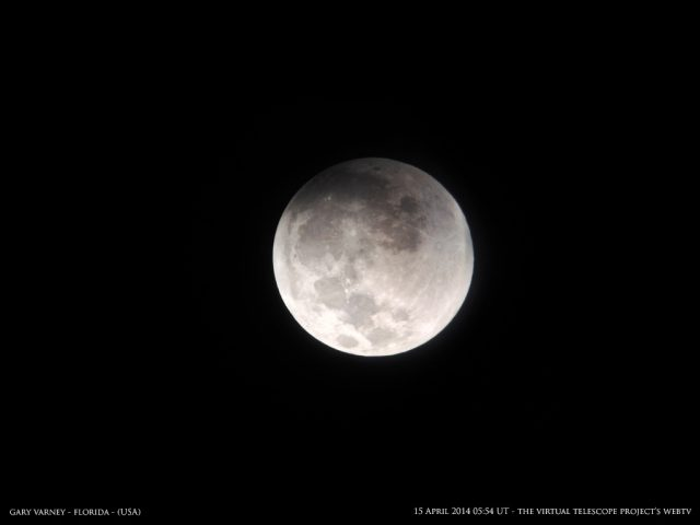 The Moon is here kissed by the Earth's Penumbra, the eclipse started Image by Gary Varney, shared live via The Virtual Telescope Project