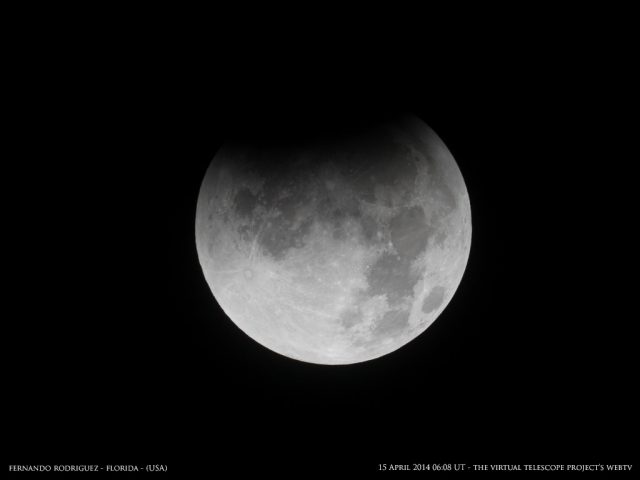 Finally, the umbra started covering the Moon. Image by Fernando Rodriguez, shared live via The Virtual Telescope Project