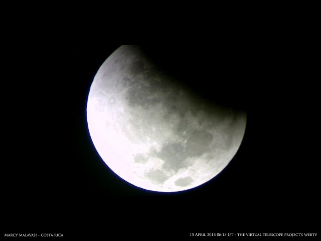 The Earth's umbra is minute after minute conquering the Moon.Image by Marcy Malavasi, shared live via The Virtual Telescope Project