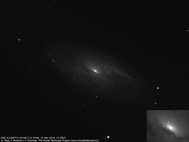 PSN J12185771+4718113 in M106: image (21 May 2014)
