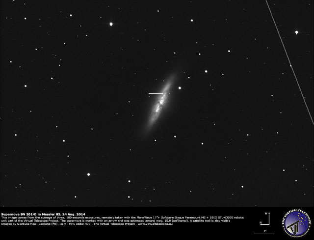 Supernova SN 2014J in M82: 24 Aug. 2014
