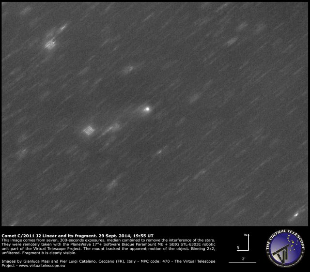 Comet C/2011 J2 Linear with its fragment: 29 Sept. 2014