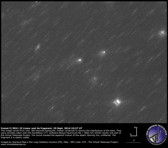 Comet C/2011 J2 Linear with its fragment: 24 Sept. 2014
