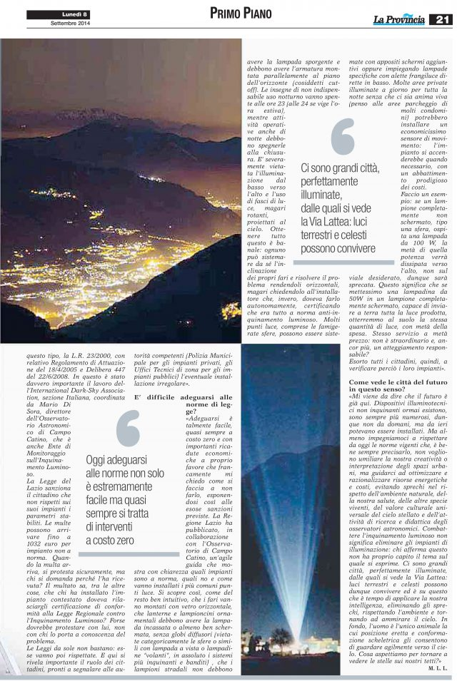 """""""La Provincia"""" 8 settembre 2014: pag. 3"""
