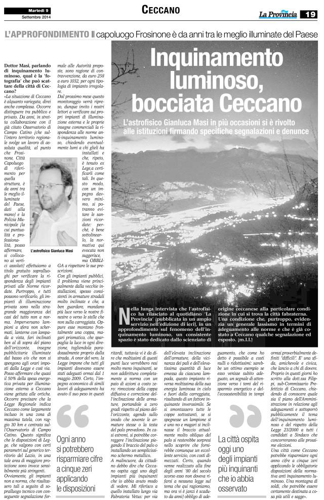 """""""La Provincia"""" 9 settembre 2014: pag. 4"""