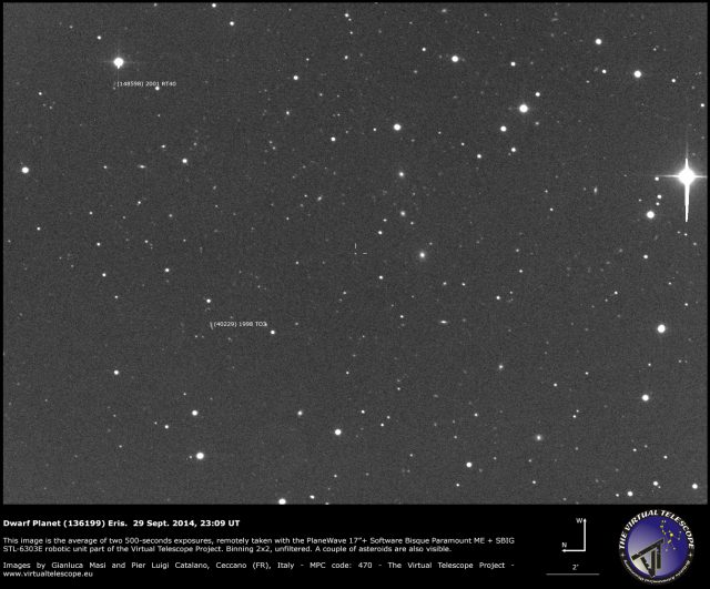 The dwarf planet (136199) Eris: 29 Sept. 2014