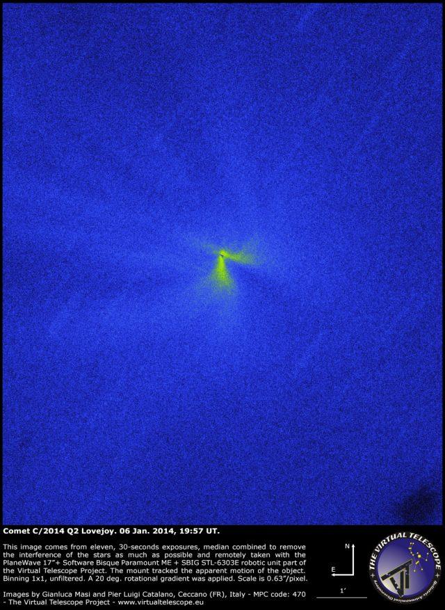 C/2014 Q2 Lovejoy – 06 Jan. 2015: structures around the nucleus