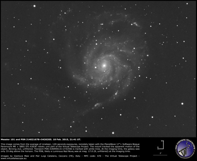 Messier 101 and PSN J14021678+5426205: 18 Feb. 2015
