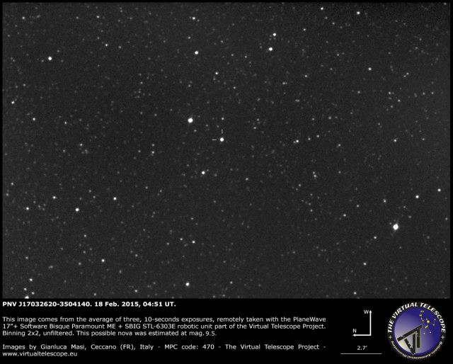 Nova Scorpii 2015 ( = PNV J17032620-3504140): 18 Feb. 2015