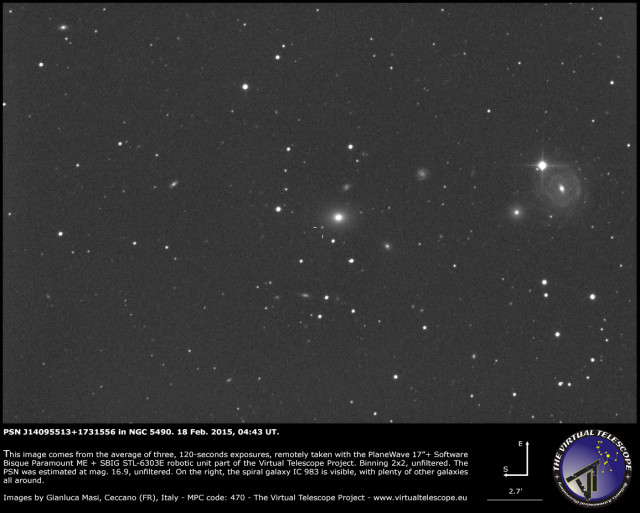 PSN J14095513+1731556 in NGC 5490: 18 Feb. 2015