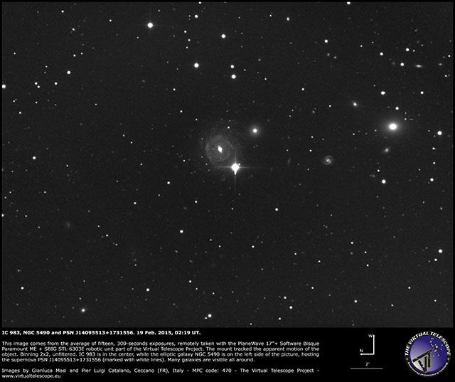 IC 983, NGC 5490 and PSN J14095513+1731556: 19 Feb. 2015, 02:19 UT